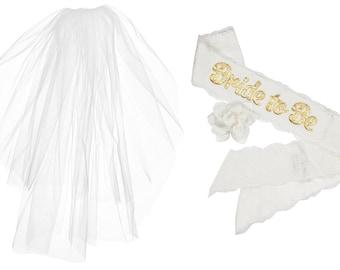 Free Ship: VEIL + SASH Bride To Be Lace & Satin Bachelorette Party Sash 2 Tier Veil Accessory ...