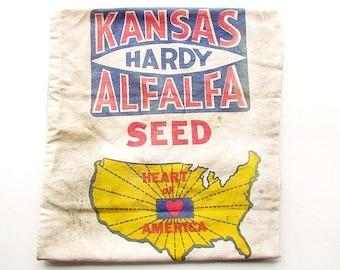 Vintage Kansas Hardy Alfalfa Cloth Seed Sack