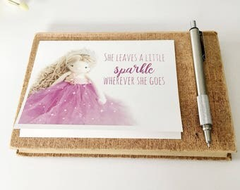 Pink Princess Birthday Card - Sweet birthday card -  a little sparkle card - birthday card for daughter - yarn card