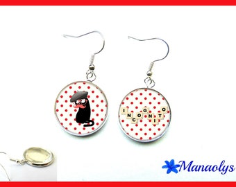 Cat incognito glass cabochons earrings