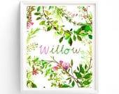 Custom name, Monogram, Forest Tangle, Woodland Baby Nursery Printable,  Botanical 8 x 10 print art, girl nursery,  boy nursery