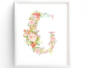 Letter G, Rose Symphony Series, Printable Letter Monogram, Nursery Art. Art Prints, Baby Girl Nursery, Wall art Prints
