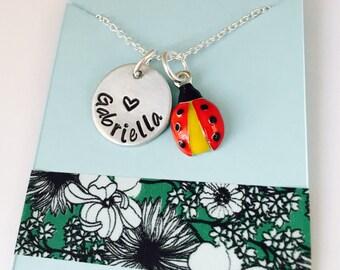 ladybug Necklace, Ladybug Name Necklace, Ladybug Jewelry,  Name Necklace with Ladybug Charm, Animal Jewelry,
