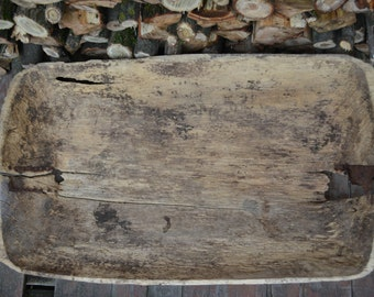 Antique primitive wooden dough bowl - Very large dough bowl - Antique natural wood - Hand carved - Country cottage chic - Rustic home decor.