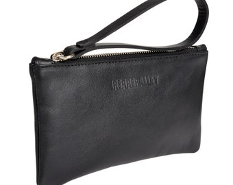 Black Leather Wristlet Purse with Emerald Satin Lining