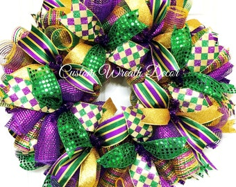 Mardi Gras Wreath, Fat Tuesday Wreath, Mardi Gras Deco Mesh Wreath, Jester Wreath