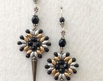 Black Jet Crystal Spike Earrings