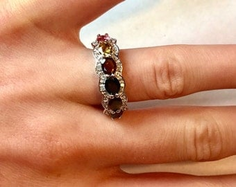 Multi-Color Tourmaline and Diamond Ring