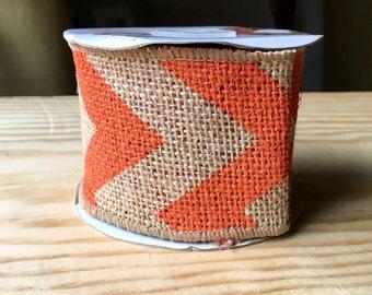 Wired orange chevron burlap ribbon