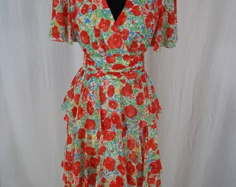 Vintage 1980's - 'Simon Ellis' Striking Poppy Print Floaty Tiered 1940's Style Tea Dress With Sash Belt -  UK Size 10