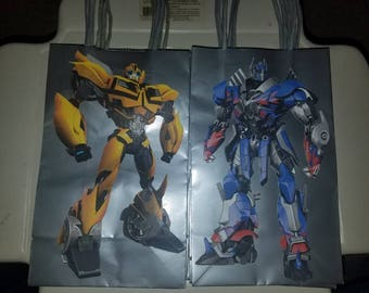 Transformer Goodie Bags Loot bags Favor Bags Party Bags Treat Bags Bumblebee Optimus Prime Autobots Decepticons Megatron Starscrean  10 Pack