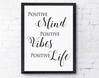 Positive Mind.  Positive Vibes.  Positive Life.  Print.  Art, Motivational,  Inspirational, Quote.  All Prints BUY 2 GET 1 FREE!
