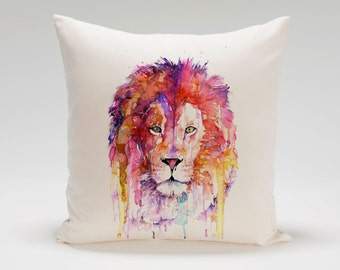 Watercolor Lion Cushion Cover Christmas Gift  Valentine's Day  *Free Worldwide Shipping*