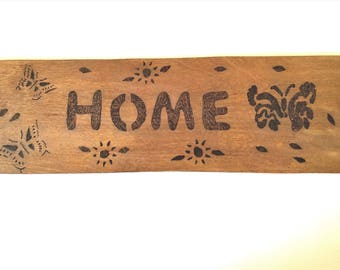 Home sign, rustic decor, Pyrography sign, butterfly design, sunflower design, housewarming gift, wedding gift, rustic wall decor, wall sign