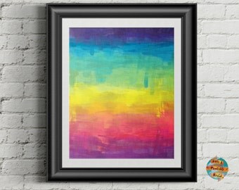 Abstract rainbow, abstract art, digital artwork, Printable poster, Wall art decor