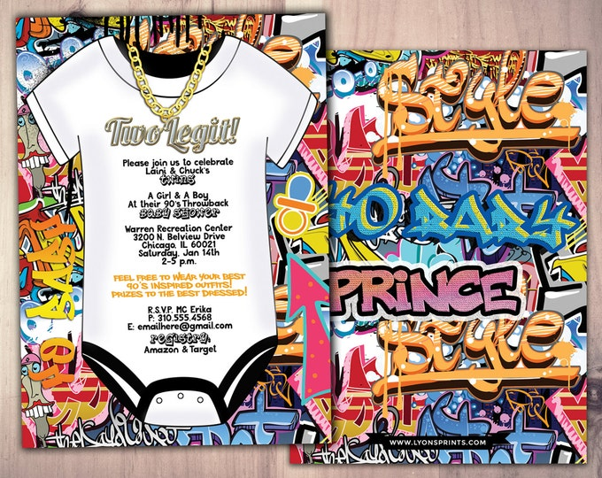 Fresh Prince, Baby Shower, Hip Hop, Swagger, 90's, backstage pass, Vip invitation, birthday invitation, Graffiti, birthday, DJ, 90's party