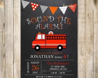 Chalkboard FIRETRUCK BIRTHDAY Invitation, Fire ENGINE Sound the Alarm Invite, Red Gray Little Fireman Truck Birthday, Digital Printable LA21