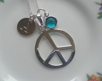 Sterling Silver Personalised Peace Sign Pendant Necklace