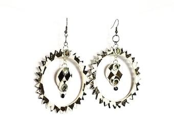 Black and White Spike Hoop Earrings