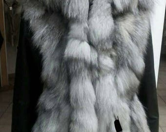 MEN'S New!Real Natural SILVER FOX Hooded Fur Jacket with Black leather sleeves!