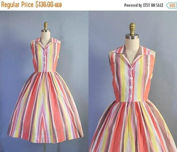 SALE 15% STOREWIDE 1950s Striped Cotton Halter Dress/ Medium (37b/30w)