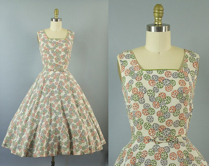 1950s novelty print dress/ 50s pinwheel rayon blend sundress/ medium