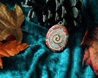 Elven pixie forest hand painted pendant