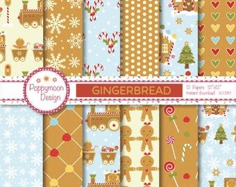 Gingerbread,gingerbread house and train,  printable digital paper pack