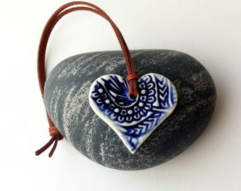Porcelain heart decoration, heart decor, delft blue porcelain, 9th wedding anniversary gift, pottery heart decoration, ceramic heart