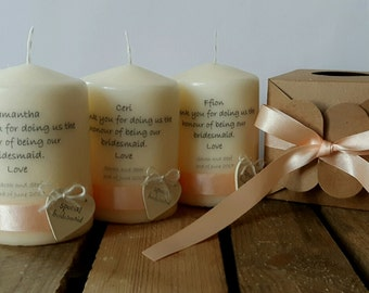 Bridesmaids' candles - set of 4 candles individually packed in the kraft box