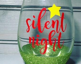 Silent Night Wine Glass//Glitter Wine Glass