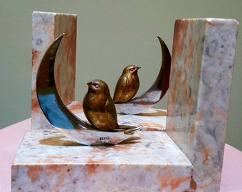 Fabulous French Bronze Bird and Crescent Moon Bookends on Marble Bases.