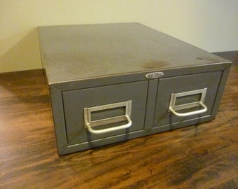 Gray Industrial Metal Card Catalog  - Cole Steel - 3.5 x 5 Card Size