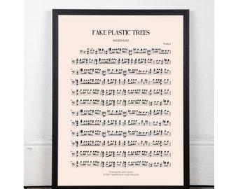 Fake Plastic Trees, Radiohead, bedroom art, Printable art poster, kitchen art, bar art, INSTANT DOWNLOAD, sheet music, studio art, 90s