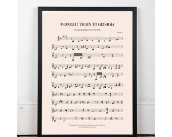 Midnight Train to Georgia, Gladys Knight & the Pips, bedroom art, Printable art poster, bar art, INSTANT DOWNLOAD, sheet music, studio art