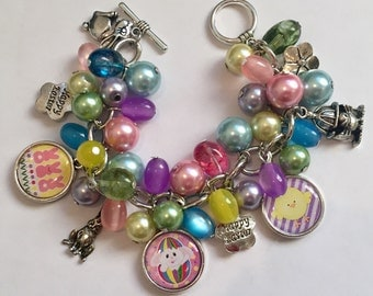 Easter Charm Bracelet with various Purple, Light Green, Pink, Light Blue, and Yellow Beads and Easter charms