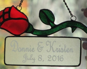 Rose Stem Stained Glass Suncatcher