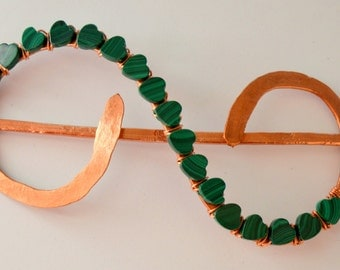 Hair Berrette,Copper Hair Jewelry,Hair Clip with Malachite Stone,Hair Pin,Hair Accessories,Gift for Her ,FREE SHIPPING