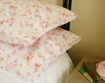 Prettiest Pink Rose Floral Style Bedroom Pillow Shams Cases In Pure Cotton Fabric 2511