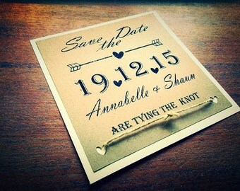 Rustic wedding Save The Date Tying the knot