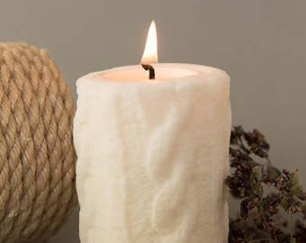 Knitted pillar candle