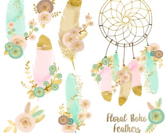 Floral Boho Feathers. Feathers, Dream Catcher, Flowers, Gold. Boho style. Wedding Set. 8 images, 300 dpi. Png files. Instant Download