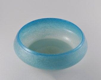 gallerymichel Vintage Pulegoso Sea Foam Blue Crystal Bowl