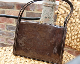 1980's Simpson's Brown Patent Leather Classic Handbag