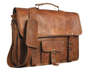 Vintage Leather Messenger Bag Perfect For College | Ships from USA
