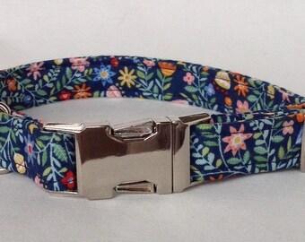 Handmade Floral Fabric Dog Collar