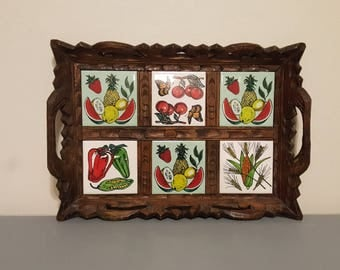 Vintage hand carved wood and tile serving tray