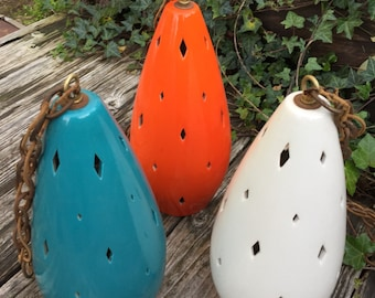 Set of 3 Original Mid Century Glazed Hanging Pendent Lights in 3 Period Colors, Orange, Blue & White. Nice!