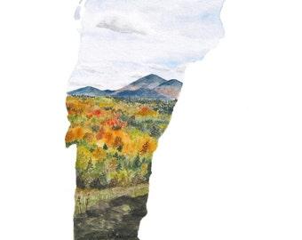 Vermont PRINT - Vermont Map - Vermont Art - US Map Art - Unique Map - Watercolor Map Art - Landscape Print - Wall Art - Vermont Landscape