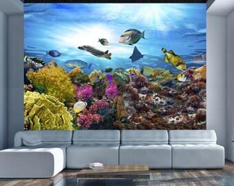 aquarium wall decal etsy. Black Bedroom Furniture Sets. Home Design Ideas